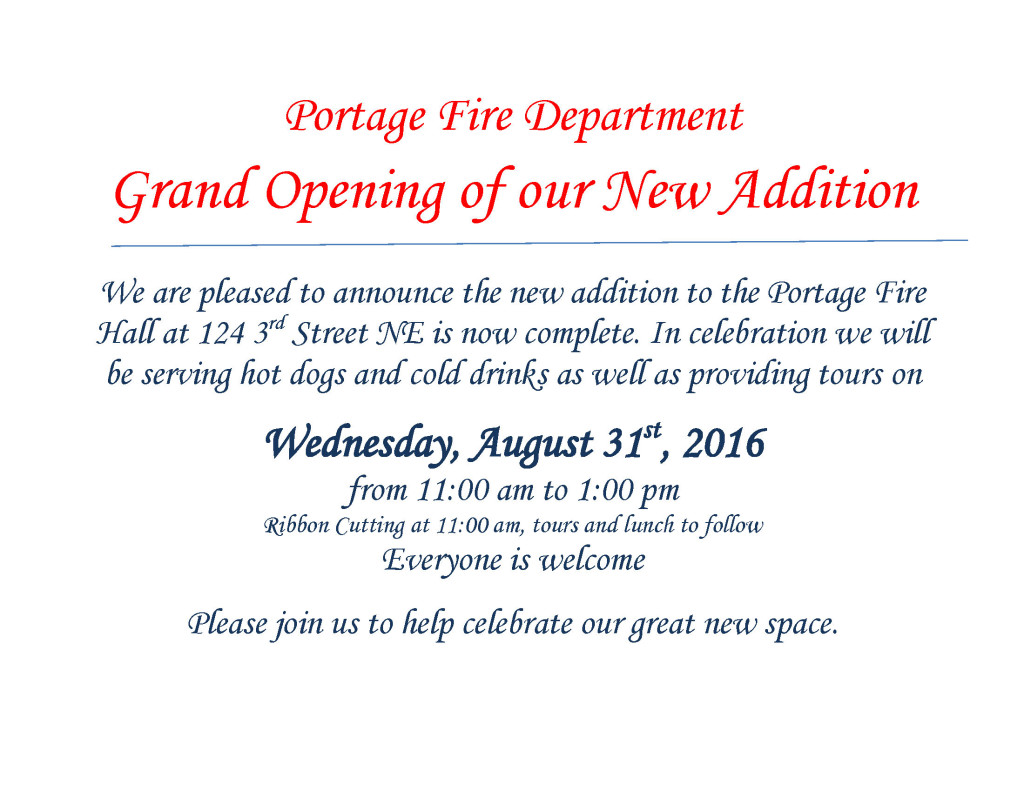 Portage Fire Department Grand Opening