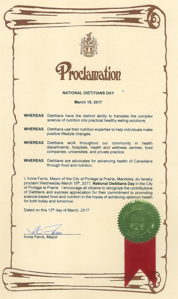 Proclamation National Dietitians Day
