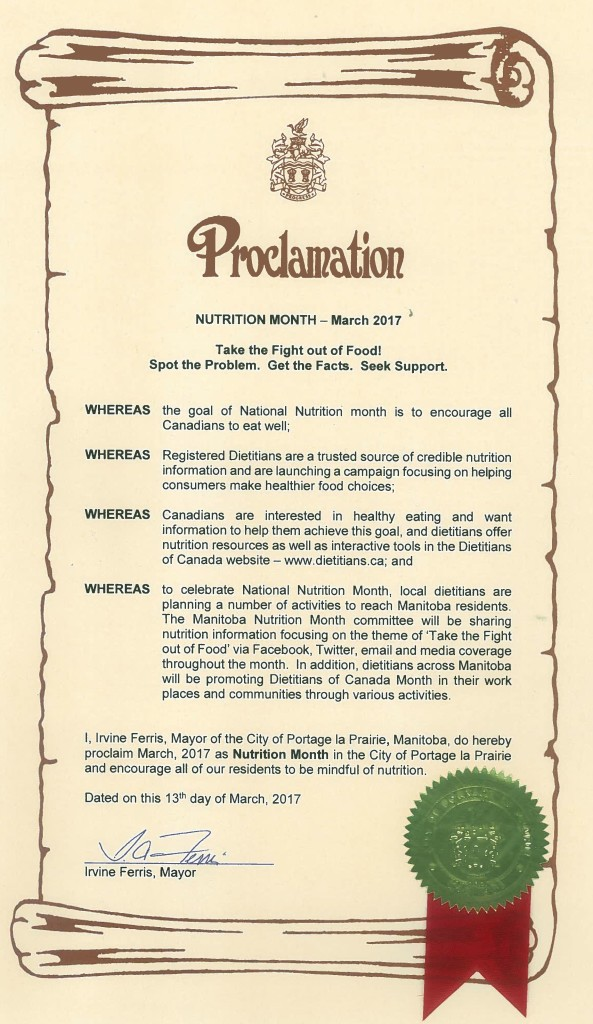 Proclamation Nutrition Month