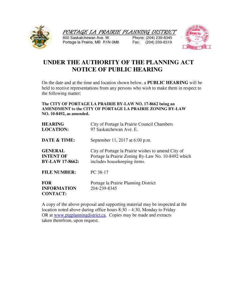 Notice of Public Hearing PC 38-17
